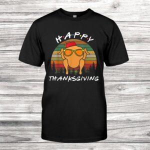Vintage Friends Happy Thanksgiving Turkey Head Funny Shirt