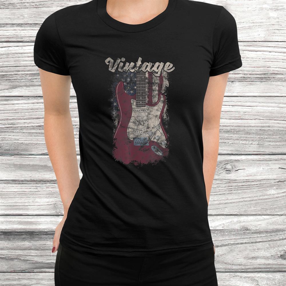 Vintage Guitar Player American Flag Shirt Guitarist Shirt