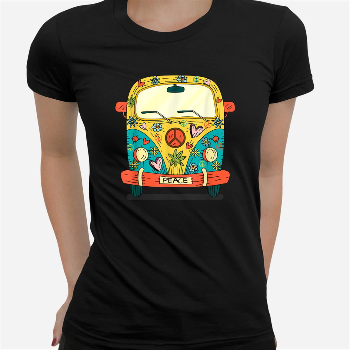 Vintage Hippie Van Flower Bus With Peace Sign Gift 60s 70s Shirt