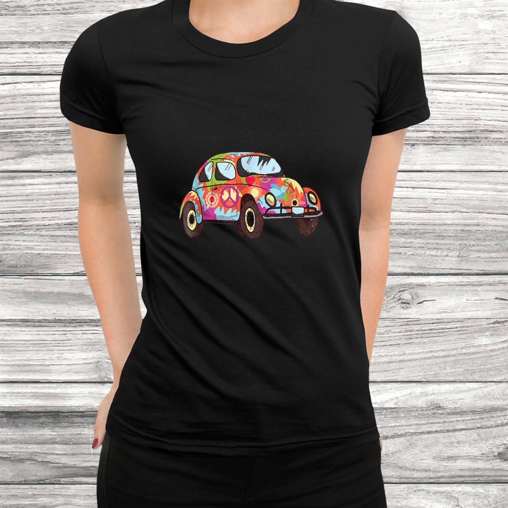 Vintage Hippie Van Flower Old Car Peace Sign Gift 60s 70s Shirt