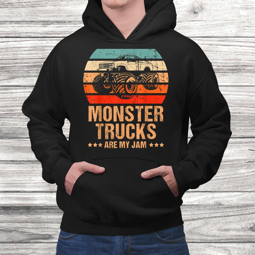 Vintage Monster Trucks Are My Jam Retro Sunset Cool Shirt