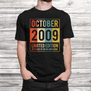 vintage october 2009 10 years old shirt 10th gift women men Black 2