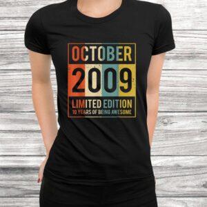 vintage october 2009 10 years old shirt 10th gift women men Black 3