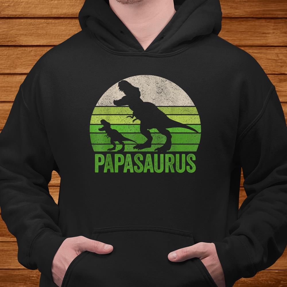 Vintage Papasaurus Dad Apparel Funny Papa Two Dinosaurs Shirt