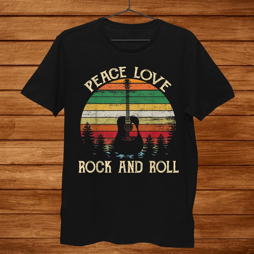 Vintage Peace Love Rock And Roll Guitar Tshirt Hippie Shirt
