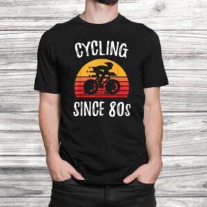 vintage retro bicycle cycling since 80s biking cyclist gift t shirt Black 2