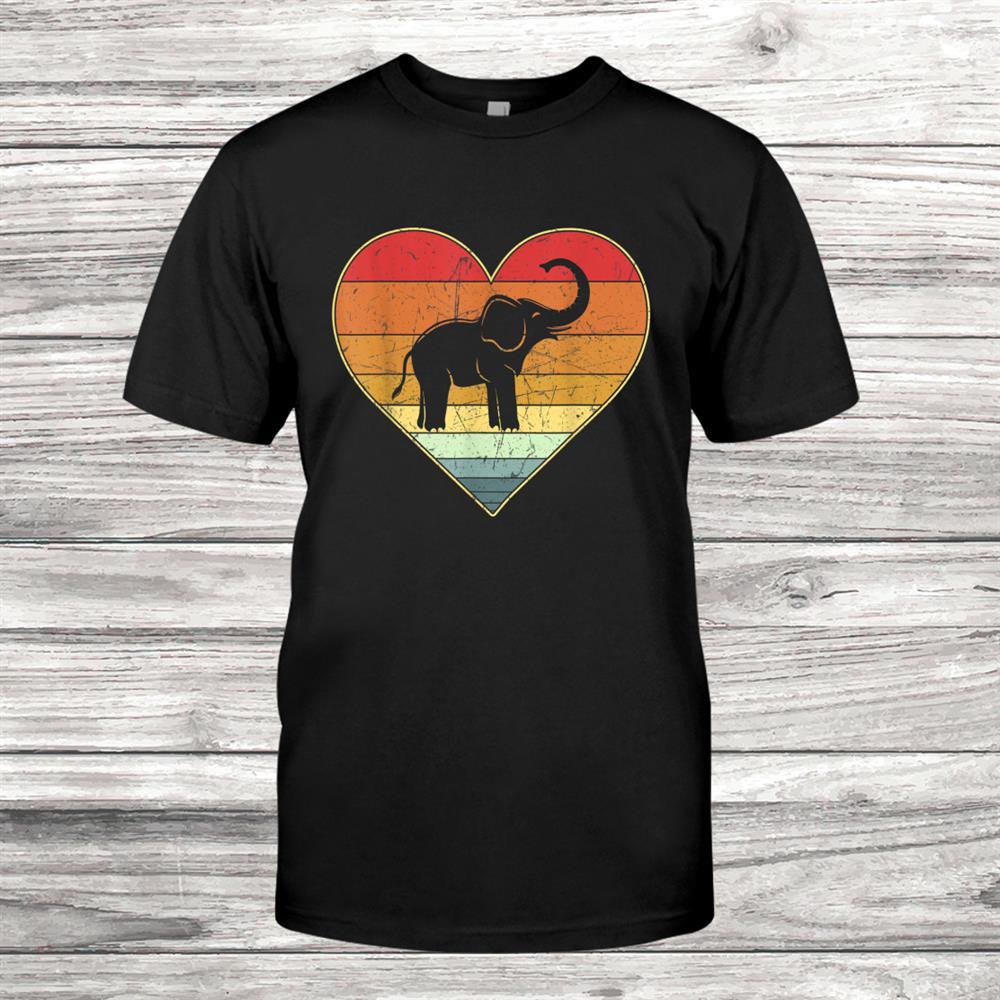 Vintage Retro Elephant Heart Xmas Valentines Day Shirt