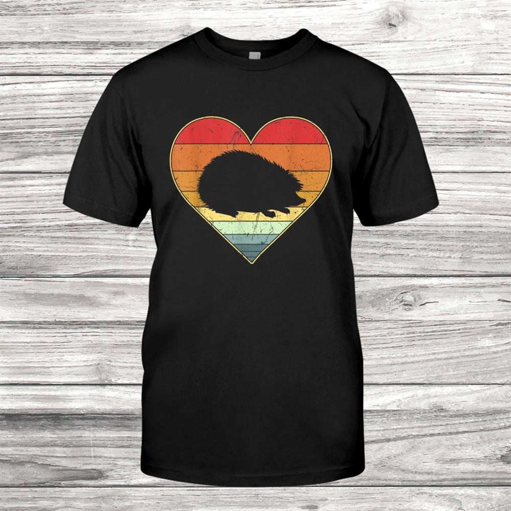Vintage Retro Hedgehog Heart Xmas Valentines Day Shirt