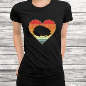 vintage retro hedgehog heart xmas valentines day gift t shirt Black 3