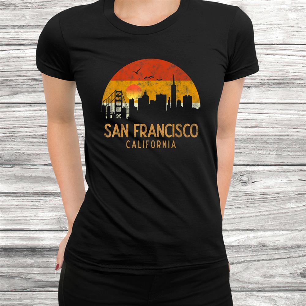 Vintage Retro Sunset City San Francisco Usa Skyline Souvenir Shirt