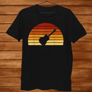 Vintage Sunset Acoustic Guitar Gift For Guitarists Shirt