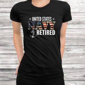 vintage united states navy retired american flag cool gift t shirt Black 3