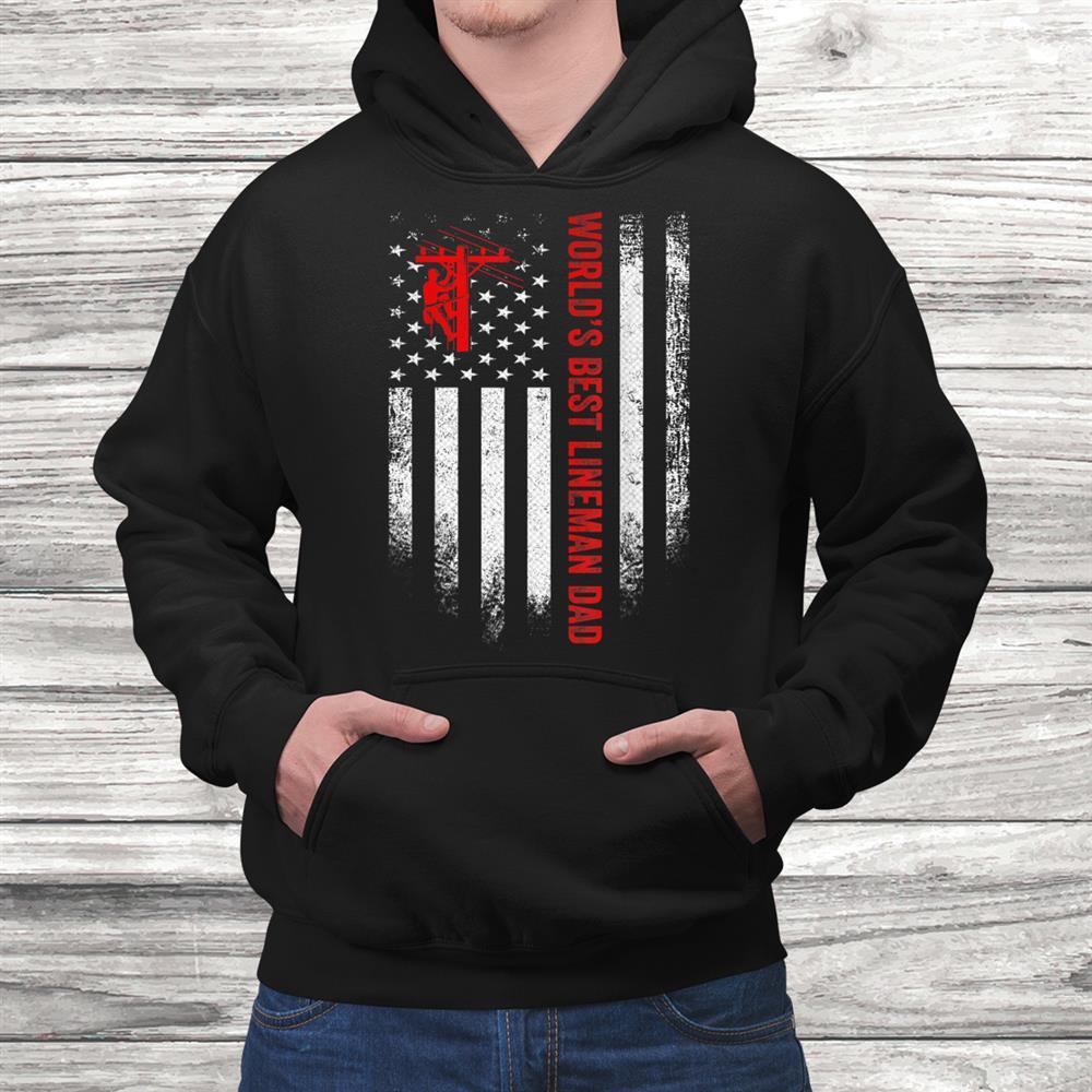 Vintage Usa American Flag Worlds Best Lineman Dad Funny Shirt