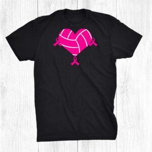 Volleyball Tshirt Pink Ribbon Cool Breast Cancer Awareness Shirt