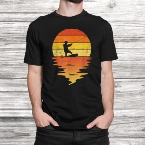 wakeboarding shirt retro sunset 70s vintage wakeboarding t shirt Black 2