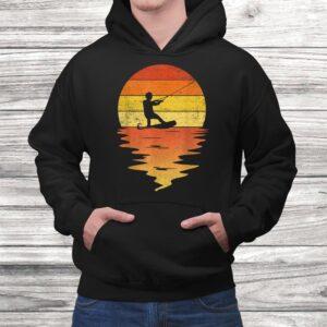 wakeboarding shirt retro sunset 70s vintage wakeboarding t shirt Black 4