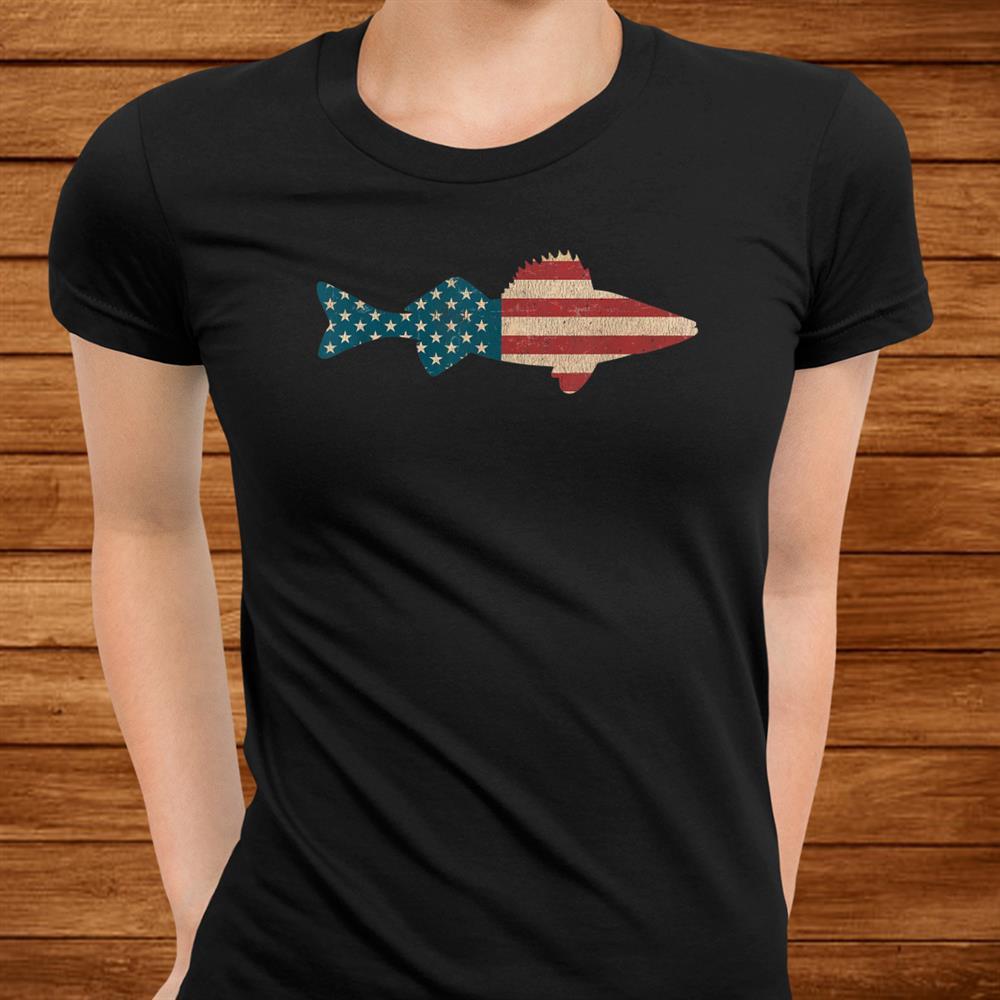 Walleye Fishing Shirt American Flag Angling Shirt