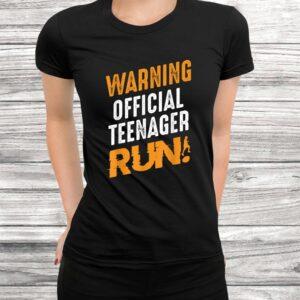 warning official teenager run birthday teen young adult t shirt Black 3