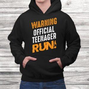 warning official teenager run birthday teen young adult t shirt Black 4