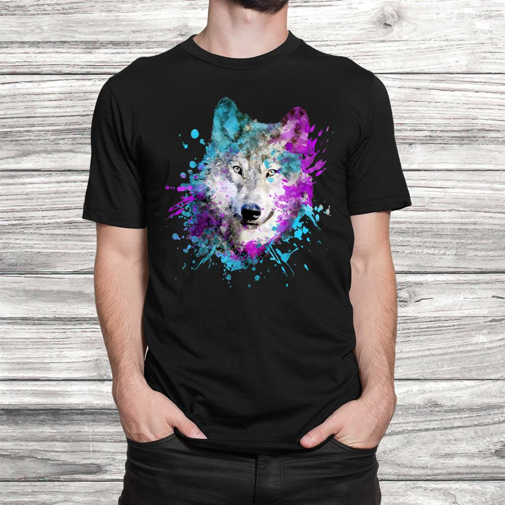 Watercolour Wolf Head Colourful Painting Wolves Lover Shirt