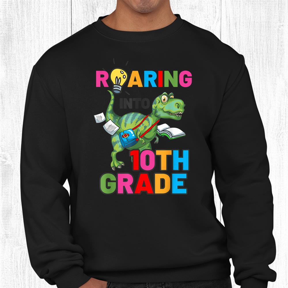 Welcome Back To School Cute Dinosaur 10th Grade Shirt