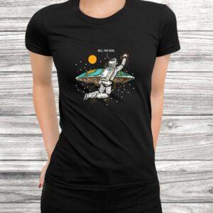 well that sucks i flat earth planet astrology astronaut t shirt Black 3