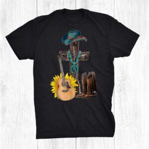 Western Turquoise Cowboy Boots Hat Guitar Jesus Cross Shirt
