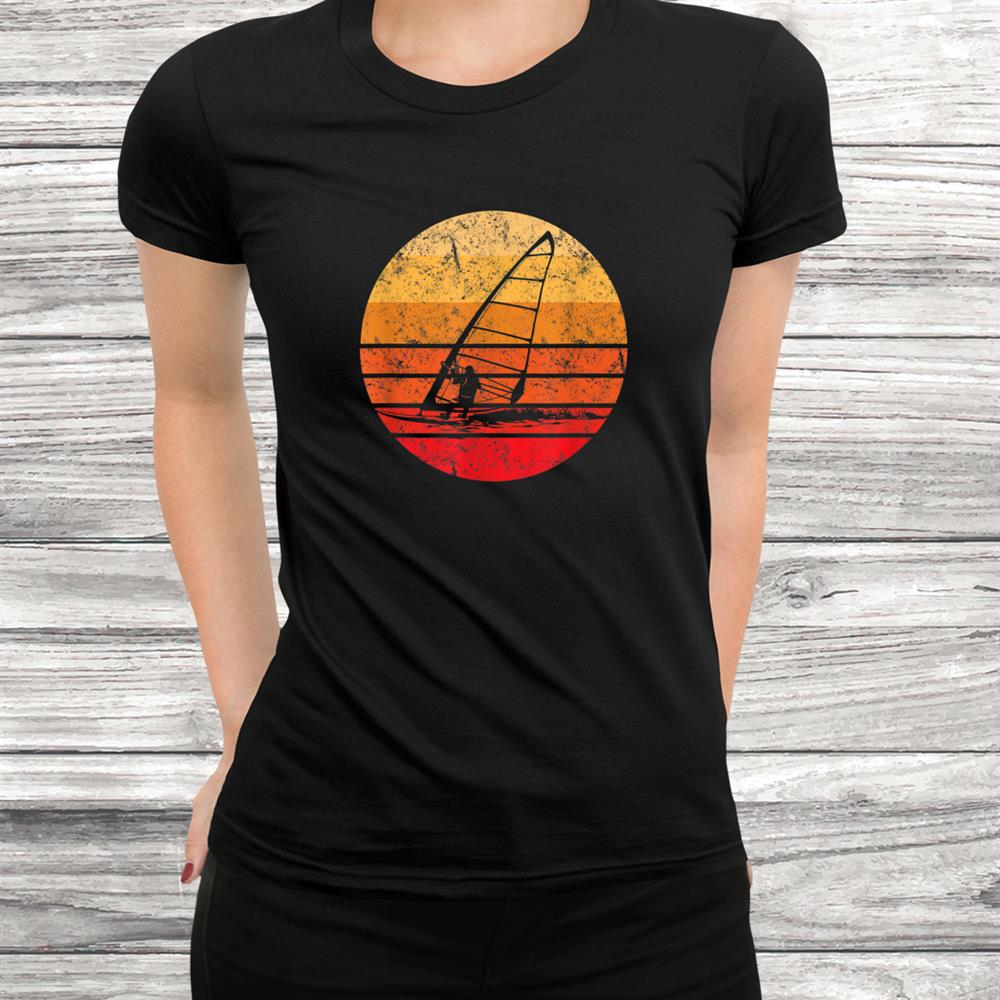 Windsurf Windsurfing Tshirt Retro Vintage Sunset Silhouette Black