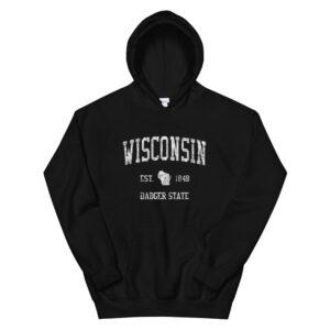 Wisconsin Hoodie Vintage Sports Design Unisex3