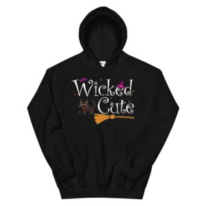Witch Halloween Costume Lazy Cat Broom Wicked Cute Hoodie
