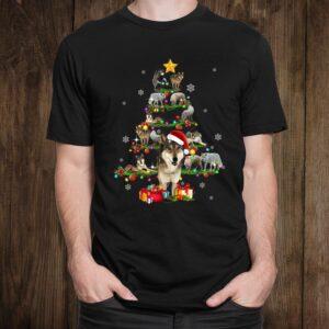 Wolf Christmas Tree X Mas Lover Womens Shirt