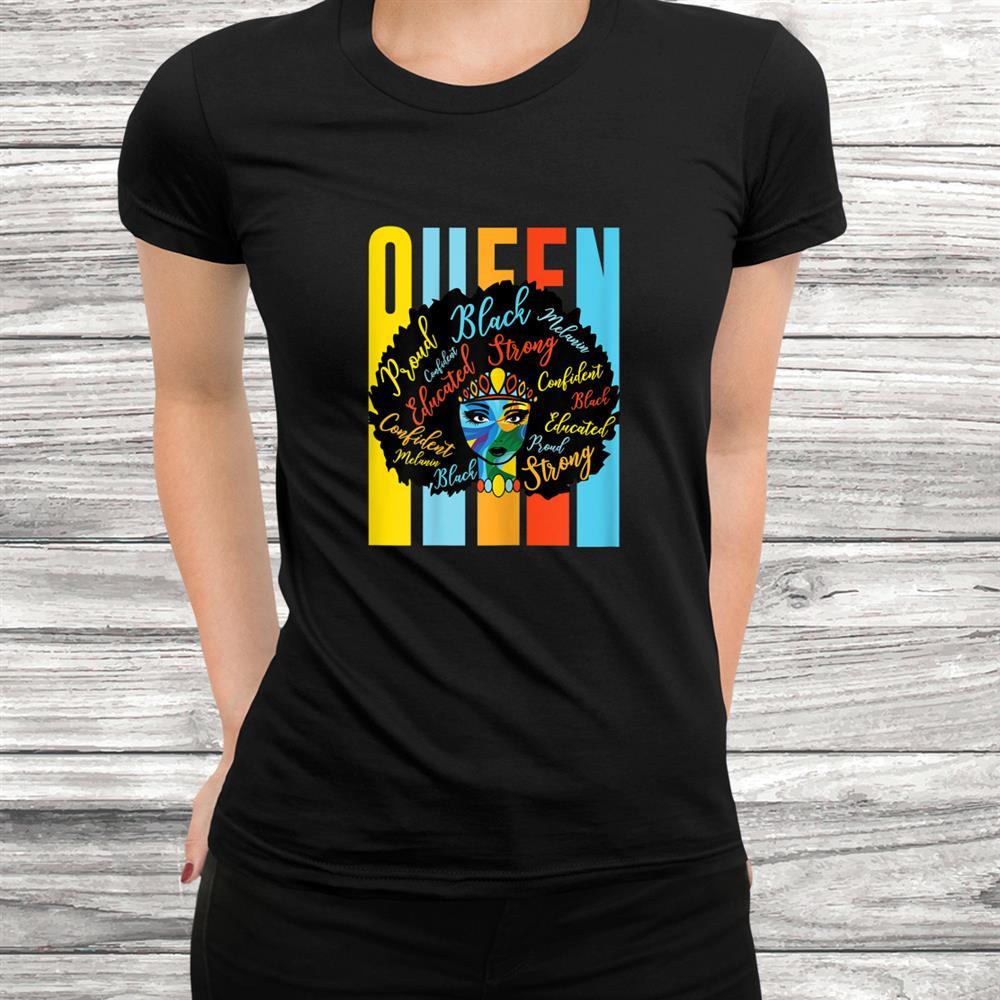 Womens Black Queen Melanin African American Usa Pride Dashiki Shirt