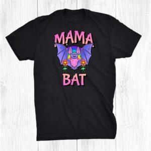 Womens Funny Mama Bat Goth Mom Mother Rainbow Halloween Ma Shirt