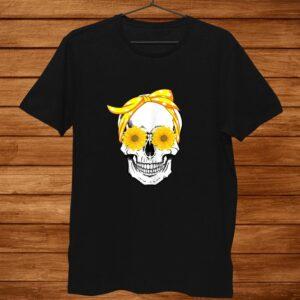 Womens Funny Skeleton Skull Sunflower Headband Shirt