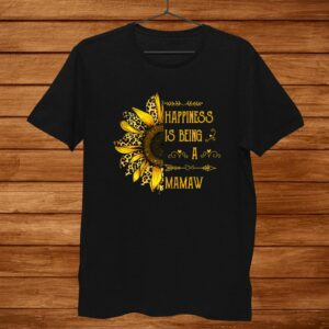 Womens Gifts Happiness Is Being A Mamaw Leopard Sunflower Hippie Shirt