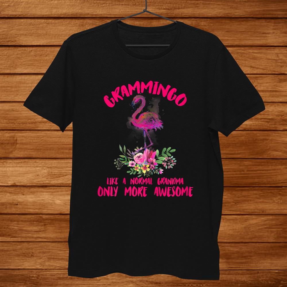 Womens Grammingo Like An Grandma Only Awesome Floral Flamingo Shirt