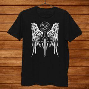 Womens Viking Valhalla Valkyrie Wings Norse Mythology Shirt