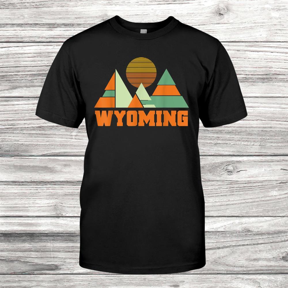 Wyoming Vintage Minimal Geometric Mountains Souvenir Shirt