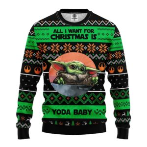 All Want Baby Yoda Noel Ugly Christmas Sweater