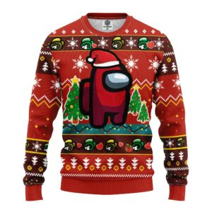 Among Us Red Ugly Christmas Sweater