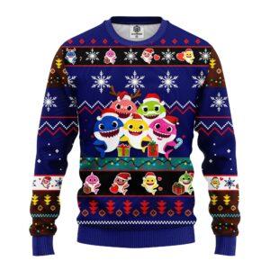 Baby Shark Ugly Christmas Sweater Blue
