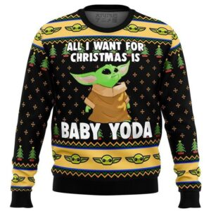 Baby Yoda All I Want Mandalorion Star Wars Ugly Christmas Sweater