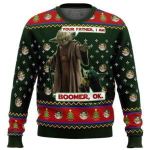 Baby Yoda Boomer Ok Mandalorion Star Wars Ugly Christmas Sweater