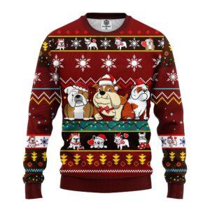Bull Dog Cartoon Noel Mc Ugly Christmas Red Brown