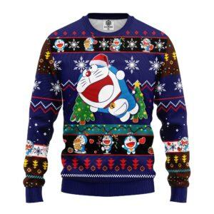 Doreamon Anime Ugly Christmas Sweater Blue