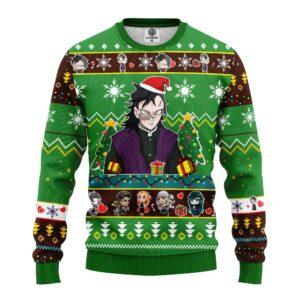 Genya Shinazugawa Demon Slayer Anime Ugly Christmas Sweater Green
