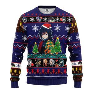 Giyu Tomioka Christmas Demon Slayer Anime Ugly Christmas Sweater Blue