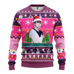 Jungkook BTS Ugly Christmas Sweater Pink