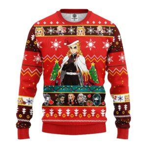 Kyojuro Rengoku Demon Slayer Anime Ugly Christmas Sweater Red