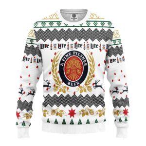 Miller Lite Beer Ugly Christmas Sweater